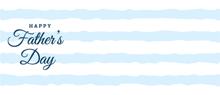 Happy fathers day blue and white banner design and illustration.