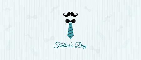 Happy fathers Day banner design and illustration with necktie mustache. Vector illustration. Illusztráció