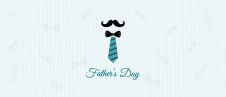 Happy fathers Day banner design and illustration with necktie mustache. Vector illustration. Illustration