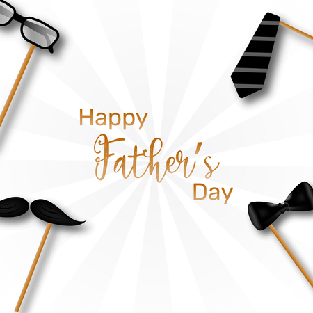 Happy fathers day template, poster and card design illustration with necktie and mustache.