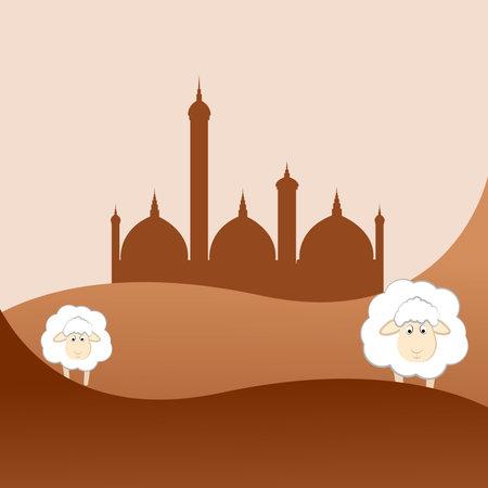 Mosque illustration on landscape vector illustration with sheep. Ilustración de vector
