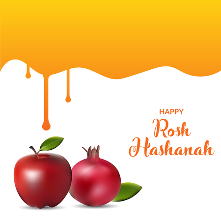 Happy rosh hashanah with honey drips. poster and template design illustration.  イラスト・ベクター素材