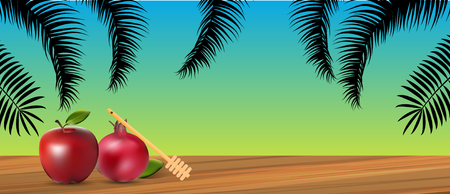 Vector - Rosh Hashanah holiday. Background with honey & apple.