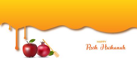 Happy rosh hashanah banner design with honey drips.