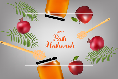 Happy rosh hashanah vetor template design and illustration. jewish holiday.