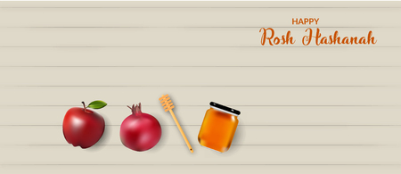 Rosh hashanah banner design with honey and fruits.