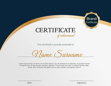 modern and professional certificate template design and illustration with stamp and badge.