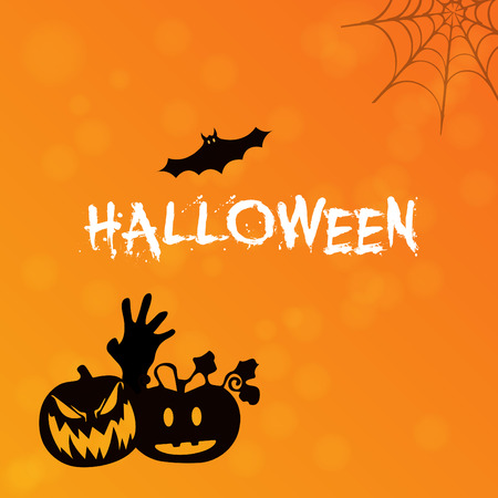 halloween poster, wallpaper and invitation card vector design with pumpkin silhouette. Illustration