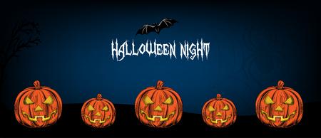 Halloween night banner design with pumpkins and bats.