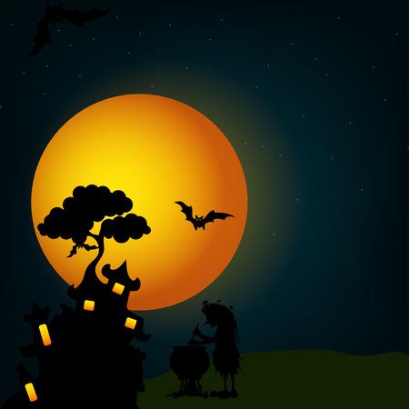 Halloween vector castle design for wallpaper, invitation card and flyer design.