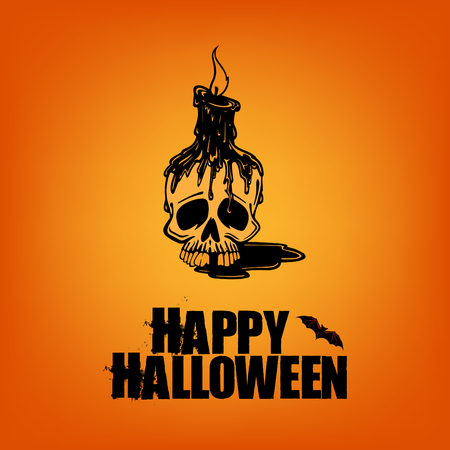 Happy halloween scary template and poster design on orange background. Illusztráció