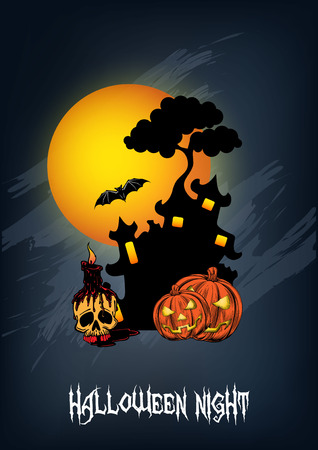Halloween castle design with pumpkin and spooky tree illustration.