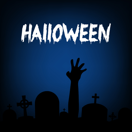 Halloween zombie party invitation card vector design.