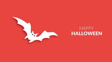 Happy halloween bat illustration on red background. Illustration