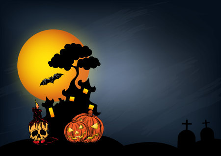 Halloween castle design for poster, wallpaper and invitation card.