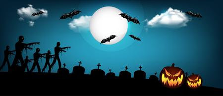 Halloween banner design with pumpkin, zombie and bats illustration.