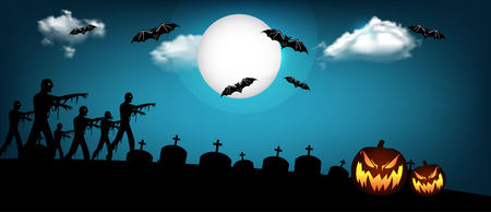 Halloween banner design with pumpkin, zombie and bats illustration.