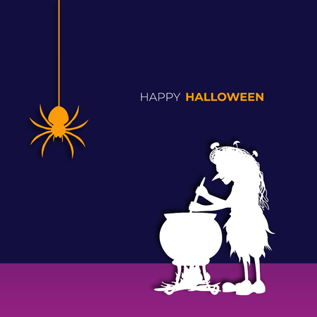 Happy halloween poster, wallpaper and witch design and illustration.