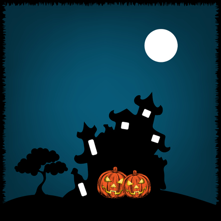 Halloween vector castle design for wallpaper, invitation card and flyer design.