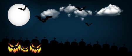 Halloween banner design with moon and clouds. Çizim