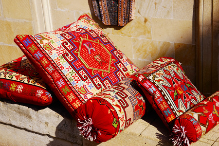 traditional Turkish Oriental cushion with handmade embroidery Stock Photo