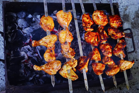 chargrill: Shish Kebab of pork and chicken with a mix of spices roasted over charcoal