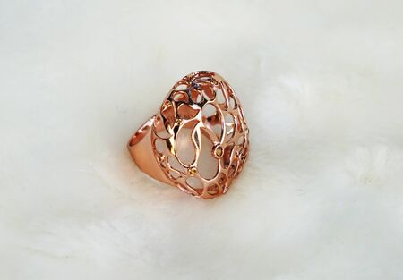 zafiro: beautiful Oriental Turkish gold rings handmade on white background