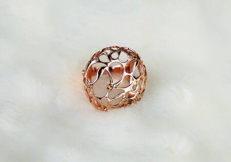 beautiful Oriental Turkish gold rings handmade on white background