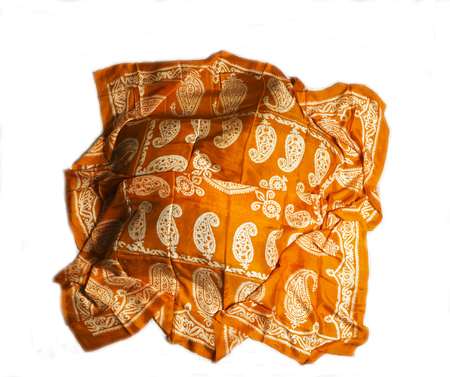 scarves: colorful Turkish Oriental beautiful scarves with pictures of natural silk on a white background Archivio Fotografico