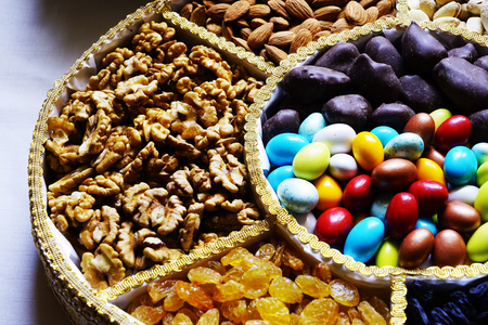 Turkish Oriental nuts, and sweets in the basket Stock Photo