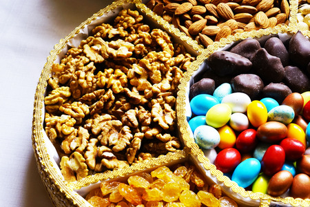baklava: Turkish Oriental nuts, and sweets in the basket Stock Photo