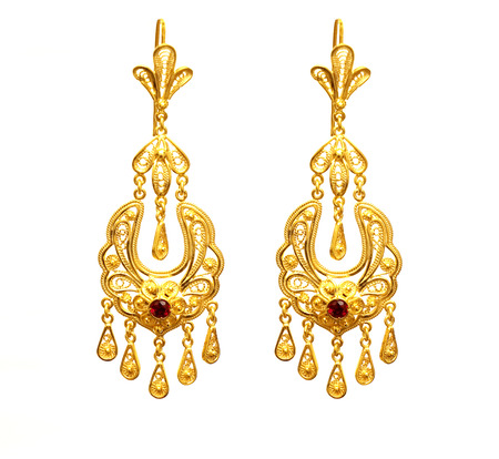 female Golden Eastern Turkish vintage womens handmade jewelry on a white background.earrings,