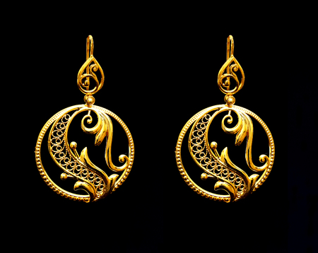 Beautiful Vintage Oriental Gold Turkish Jewelry Womens Earrings