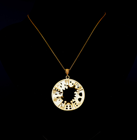 beautiful, Oriental, Turkish gold jewelry, women chain with the pendants on a black background