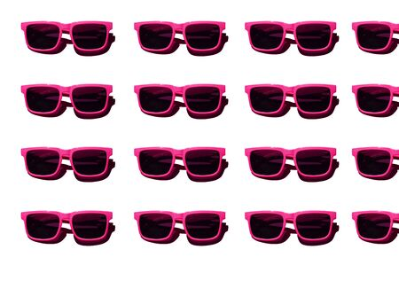 Pink sunglasses pattern on white background. Minimal summer concept. Isometric print