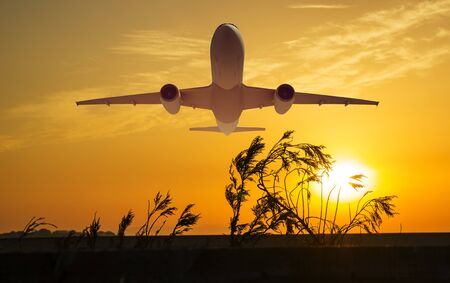 passenger plane fly up over take-off runway from airport at sunset, sunrise. Stockfoto