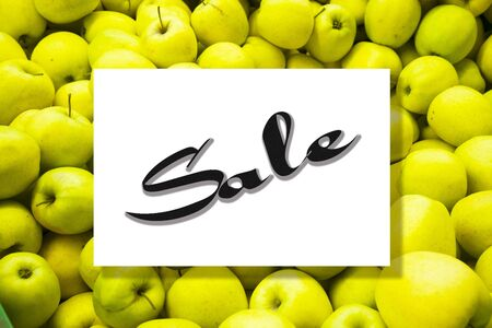 Top view of apple fruit pattern with sale text on frame template background.flat lay design
