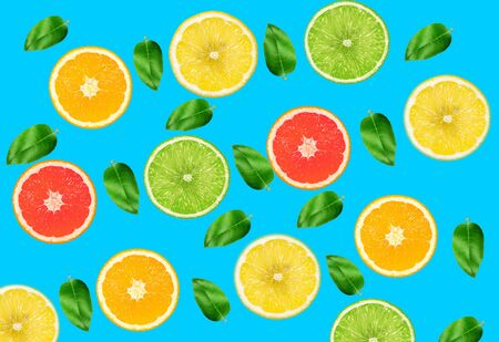 Top view of colorful orange fruit on blue pastel background.concepts ideas of fruit,vegetable.healthy eating lifestyle Stock fotó