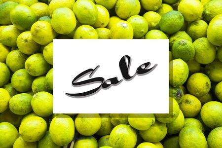 Top view of lemon fruit pattern with sale text on frame template background.flat lay design
