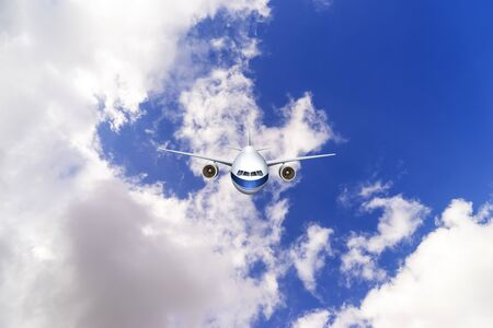 passenger plane in flight. Aircraft fly high in the blue sky over the clouds. Side view of aircraft