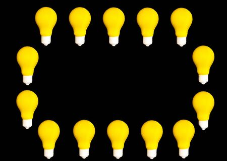 Yellow lighting lamp, isolated on white background, energy concept, copy space , idea and creativity.