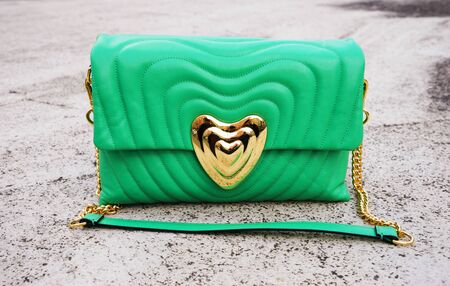 green womens bag made of genuine leather stands on the concrete floor. Stok Fotoğraf