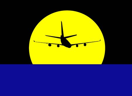 black silhouette of the plane against the yellow sun in the dark sky. 版權商用圖片