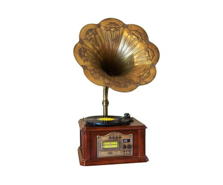 Vintage style gramophone, vinyl music player with white background,