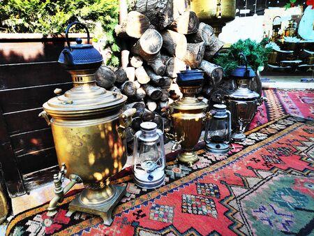 ancient, Oriental, Azerbaijani samovars and handmade teapots