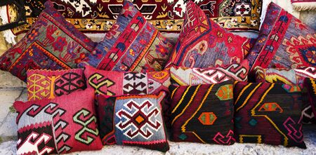 Oriental,Turkish,Azerbaijani,Arabic, Indian beautiful handmade pillows. Stock fotó