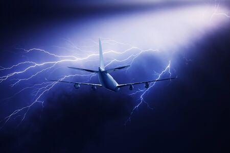 Lightning strike in a thunderstorm near the plane