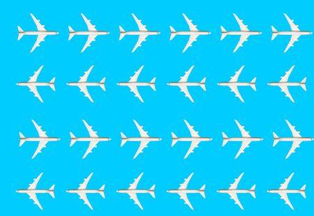 White model of passenger plane on blue background. Stock fotó
