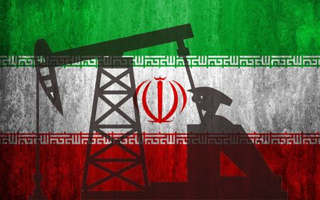 Oil rig against the background of the flag of Iranian. Mixed environment. The concept of oil production, minerals, development of new deposits, well