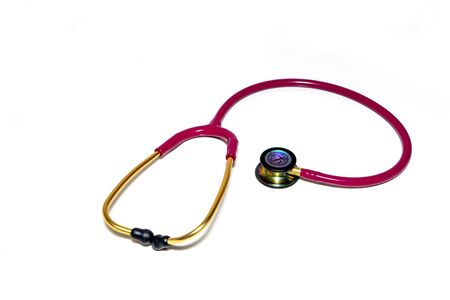 Red stethoscope on a white background.Concept of medicine and health.Copy space